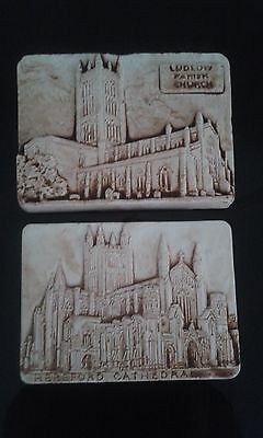 Pair of Small Unglased Wall Plaques Church/Cathedral