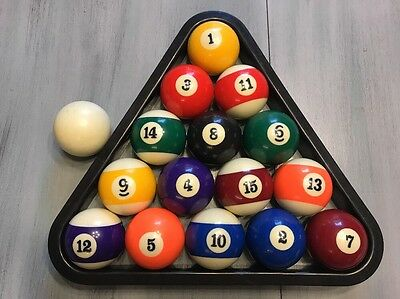Full Set (16) Pool Billiard Balls With Cue Ball And Rack