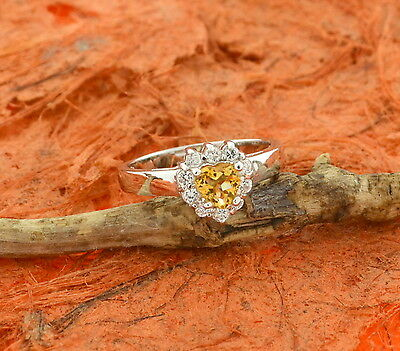 Cute Heart Cut Citrine CZ Ring- Sterling Silver- Engagement,Wedding,Fashion,Gift