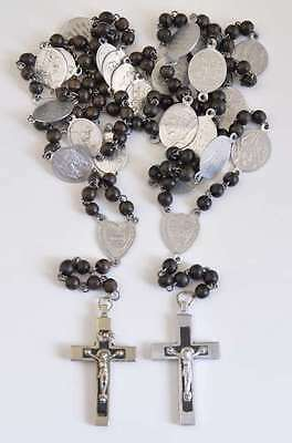 Two ANTIQUE FRENCH STATIONS OF THE CROSS WOOD ROSARIES Rosary w ALUMINUM MEDALS