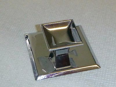 "3 Vtg Mid Century 1.25"" Square Chrome Drawer Cabinet Pulls Handles Backplate"