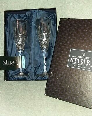 Crystal Glasses Champagne Flutes Pair STUART in box - Great Gift