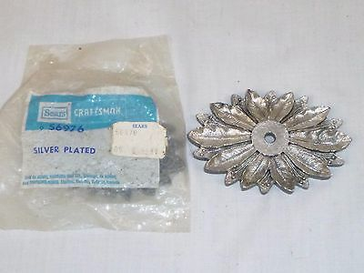2 Vtg Mid Century Sears Flower Petals Backplate Drawer Cabinet Pulls Handles
