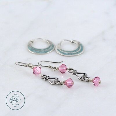 Sterling Silver | (QTY 2) Assorted Pink Crystal Turquoise Earring 4.5g | Lot