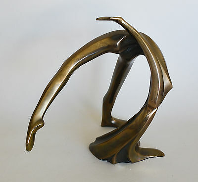 Tom Bennett Nude Stylized Woman Bronze Sculpture 43/250 1981 Abstract