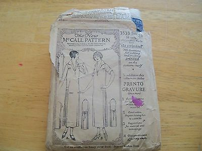 VTG 1921 McCall Women's Dress Pattern 3533 size 38 Antique Sewing slip on dress