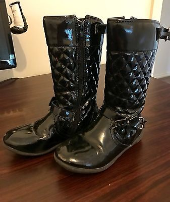 Origami Girls Patent Leather Boots Size 10