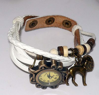 White Wrap Bracelet Watch w Bronze Heart + Greyhound Dog Charms