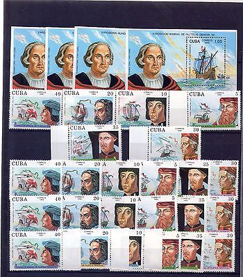 "1992,  4 sets + 4 sheets, ""GENOVA 92, EXPO FILATELICA, COLON, DESCUBRIDORES"""