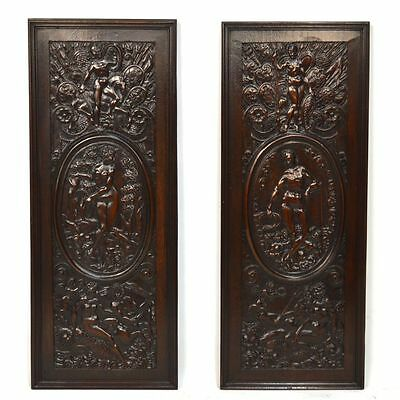 Exquisite Pair Antique French Carved Walnut Wall Panels Mythological Scenes