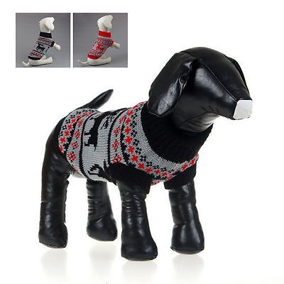 Small Pet Dog Puppy Cat Warm Sweater Knit Coat Winter Apparel Costumes Black XS