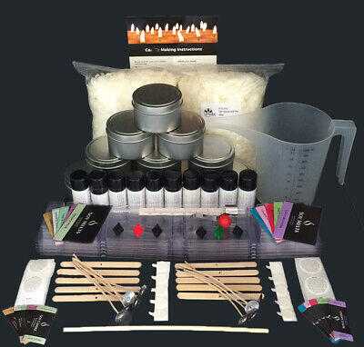 Ultimate Soy Candle Making Kit with10 fragrances, labels and BONUS POURING JUG
