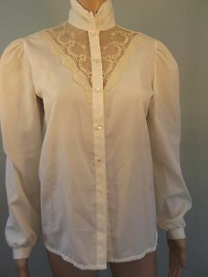 VTG~'80s~LUCKY WINNER~Edwardian Inspired~Poly Secretary Blouse w/ Lace Insets~10
