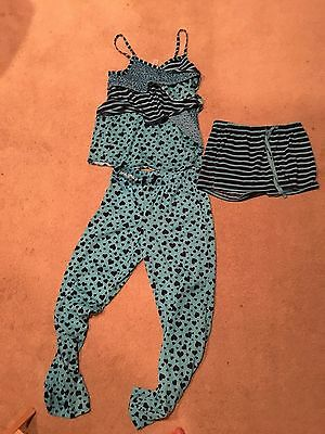 Justice Sz 12 3-Piece Pajama Set Blues Hearts, Stripes, Animal Print