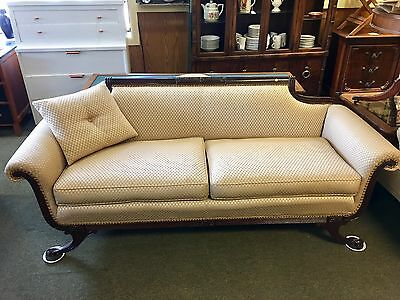 "Vintage 1940s Sofa Antique Couch Carved Mahogany 80"" Wide Exc Condition"
