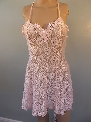 VTG~1980s~NOS~Frederick's of Hollywood~Pink Lace~Romantic~Babydoll Nightie~M