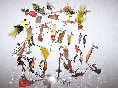 28 Vintage Fly Fishing Folk Flies, spinner baits and spoons