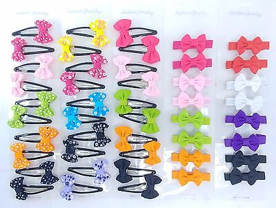 NEW 46 Asst. Cute Small Bow Snap Pins & Clips for Toddlers and Girls *US SELLER*