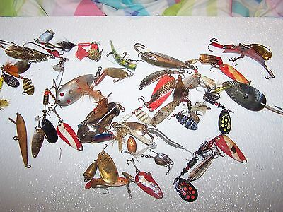41 Vintage Fly Fishing Folk Flies, spinner baits and spoons