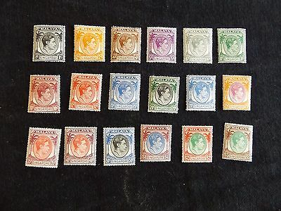 Singapore 1948 Perf  17 1/2 X 18 Definitive set of  18 stamps mounted mint (MH)
