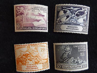 Singapore:  1949 UPU Set of 4 mounted mint
