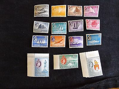 Singapore: 1955-58 Definitive set  of 15 stamps mint