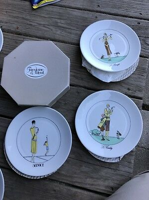 "Vintage Porcelaine D'Auteuil Paris France Golf Plates 7.5"" Set of 6"