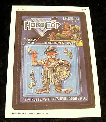 Vintage 1991 Topps WACKY PACKAGES HOBO COP ROBO BADZOOKA Sticker Card #27
