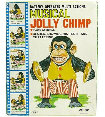 Vintage Daishin Japan Musical Jolly Chimp Toy Story Mint w/Box Insert Tag Works