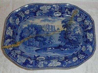 Big C1830 Wood Blue Historical Staffordshire Well Tree Platter Brancepeth Castle