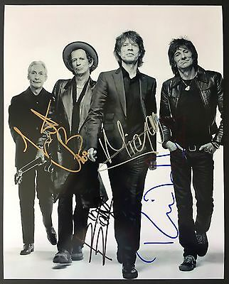 Rolling Stones Mick Jagger Keith Richards Ron Wood Hand Signed Photo W/COA
