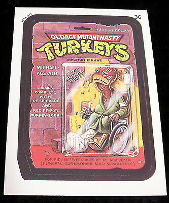 Vintage 1991 Topps WACKY PACKAGES MUTANT NASTY TURKEYS TURTLES Sticker Card #36