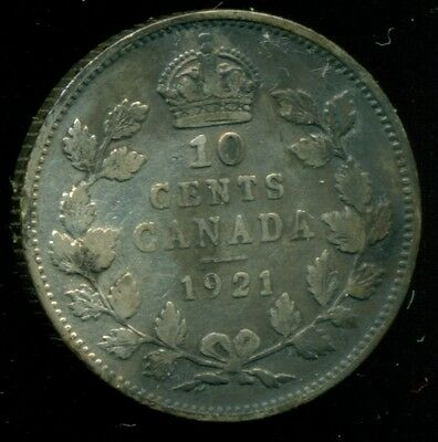 1921 Canada King George V, Silver Ten Cent, Partial Toning