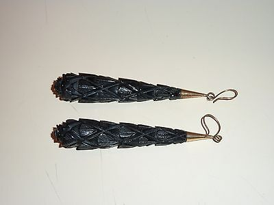 """Nice Hand Carved Bakelite Earing Set 3 """" Long Exc. Condition ."""