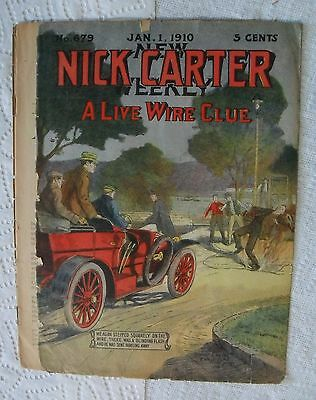 """Antique Comic Book """"New Nick Carter Weekly A Live Wire Clue 1/1/1910"""" FR"""