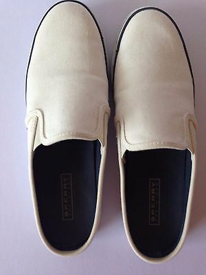 Sperry Top-Sider White Canvas Mules Slip On Boat Shoes Women's Sz 8.5M