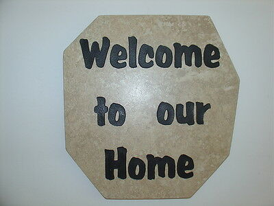"Welcome Sign Sandblast Art  Wall Hanging ""Welcome To Our Home"" Gift"