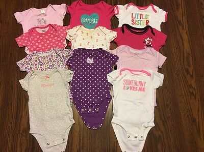 Lot Of 11 Baby Girl Onesies Size 3-6 Months