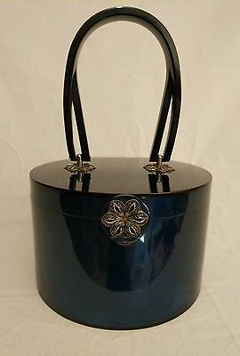 Vintage Wilardy Blue Lucite Purse Elegant Floral Designed Clasp And Anchor