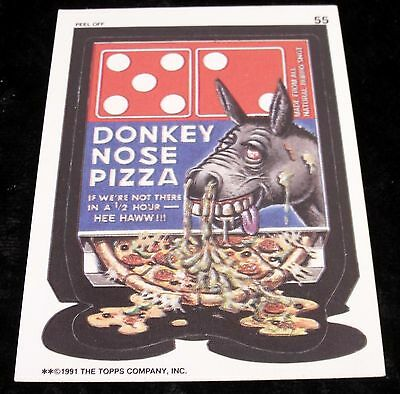 Vintage 1991 Topps WACKY PACKAGES DONKEY NOSE PIZZA DOMINOES Sticker Card #55