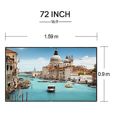 16:9 Outdoor Projector Screen 72''  Matte White HD Projection Home Theater Movie