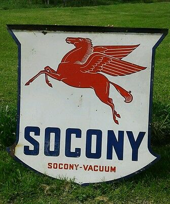 Vintage 1936 SOCONY PEGASUS SHIELD SIGN  (DOUBLE-SIDED)  Enamel/Porcelain
