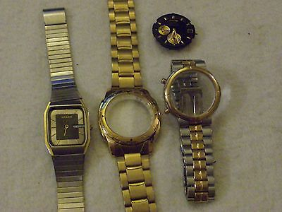 Seiko Watch Job Lot,1xWatch,2xCases/Straps,1xQuartz Movement.Spares Repair