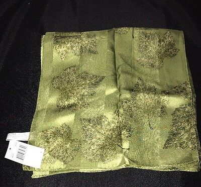 "NWT Women's JONES NEW YORK Square scarf Silk Green Leaves 20""X20"""