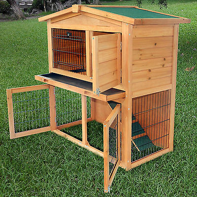 "40""New A-Frame Wood Wooden Rabbit Hutch Small Animal House Pet Cage Chicken Coop"