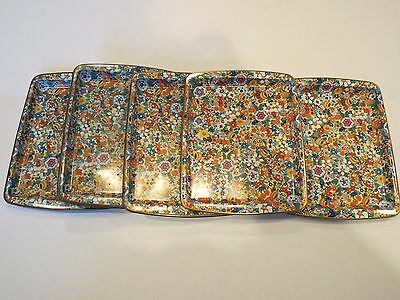 DAHER Decorated Ware Metal Tray Lot of (5) Floral Flower Pattern Vintage England