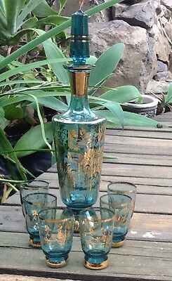 Vintage Retro Gold Trim Blue Decanter With Small Glasses