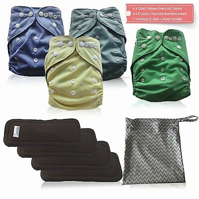 Cloth Diaper Set - Light + 5 Layer Charcoal Bamboo Inserts (4 Pack) + Wetbag