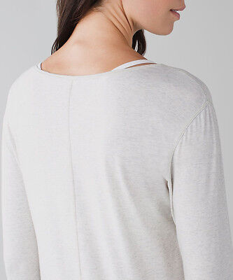 Lululemon SUPERB L/S Long Sleeve Shirt Heathered White Beige RARE sz 6