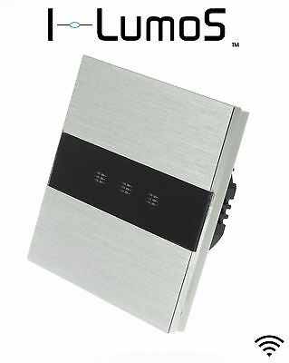 I LumoS Brushed Aluminium Panel Touch, Dimmer, Remote & WIFI LED Light Switches